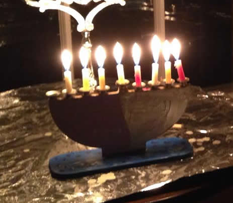 Leah's menorah on night number seven