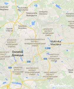 Donetsk and Makeevka (Maps: Google maps)