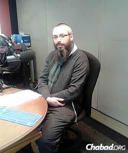 """Rabbi Levi Avtzon regularly goes on the radio, along with a number of other Chabad presenters. His segment is called """"Farbrengen."""""""