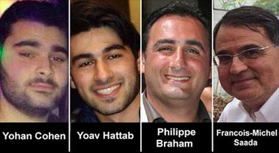 Yohan Cohen, 20 Yoav Hattab, 21, Philippe Braham, 45 e François-Michel Saada, 64.