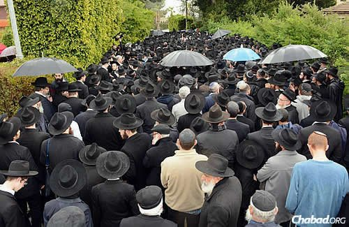 A throng of people attended the funeral of Rabbi Mordechai Shmuel Ashkenazi, rabbi of Kfar Chabad, Israel, who passed away on Jan. 14. (Photo: JDN)