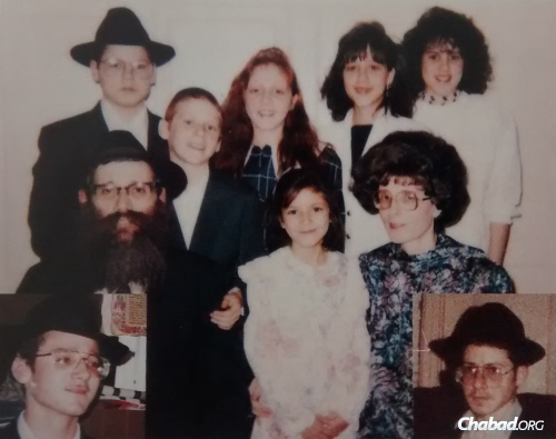 Rabbi Meir Roness surrounded by his wife and children in the early 1990s.
