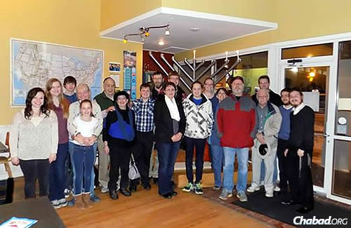 A Chanukah celebration in Brookings, in the northeastern part of the state and home of South Dakota State University. Sharfstein and Druk are standing at the far right. Student Rachel Hunt, who met with the two rabbis in December, is at the far left.