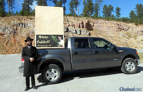 The sukkah in the back of Grossman's truck came in handy in Rapid City, the closest city to Mount Rushmore and home to a handful of Jews.