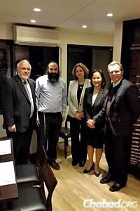 Establishing the restaurant took a great deal of hard work, according to Rabbi Sudakevich. To his left is Rabbi Abraham Cooper, associate dean of the Simon Wiesenthal Center in Los Angeles.