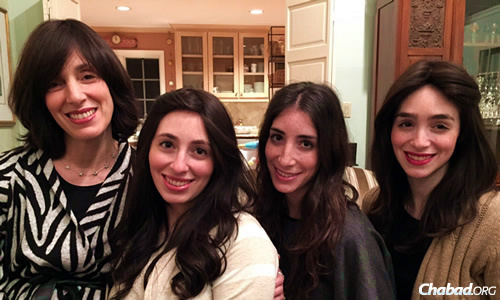 Dassie New, co-director of Chabad Lubavitch of Georgia and Congregation Beth Tefillah in Sandy Spring, Ga., will be attending the Kinus Hashluchos—the International Conference of Chabad-Lubavitch Emissaries—with three of her grown daughters: from left, Liba Leah Gurary, Sarel New and Chaish Mentz.