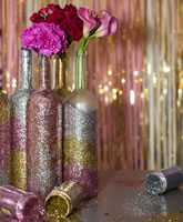 Glitter Wine Bottle Centerpieces