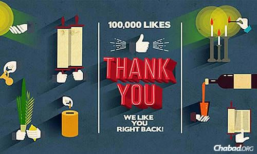 """Chabad.org's Facebook page celebrated it's 100,000th """"Like"""" this week."""