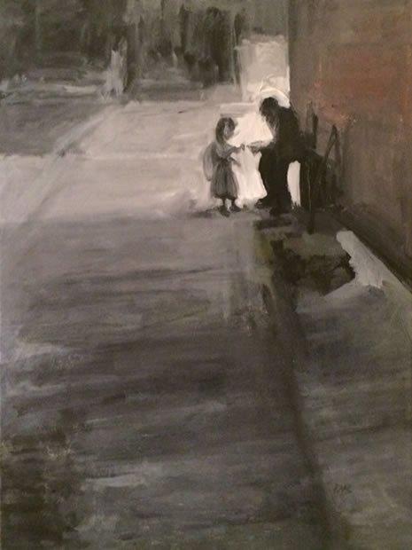 ילדה נותנת צדקה לעני. ציורה של לאה רהב