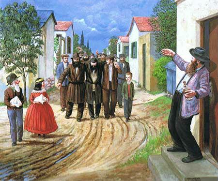 """""""פורים בכפר חב""""ד"""". ציורו של זלמן קליינמן ע""""ה"""
