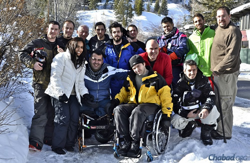 """Golshim L'Chaim-""""Ski to Live"""" brings about a dozen wounded Israeli veterans and terrorism victims to Aspen to learn how to ski each year. This year's week-long program, which starts on Feb. 23, is slated to include veterans of last summer's war with Hamas in Gaza. (Photo: Nina Zale/JTA)"""