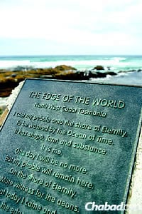 The famous marker by the sea in the island state of Tasmania, part of the Commonwealth of Australia.