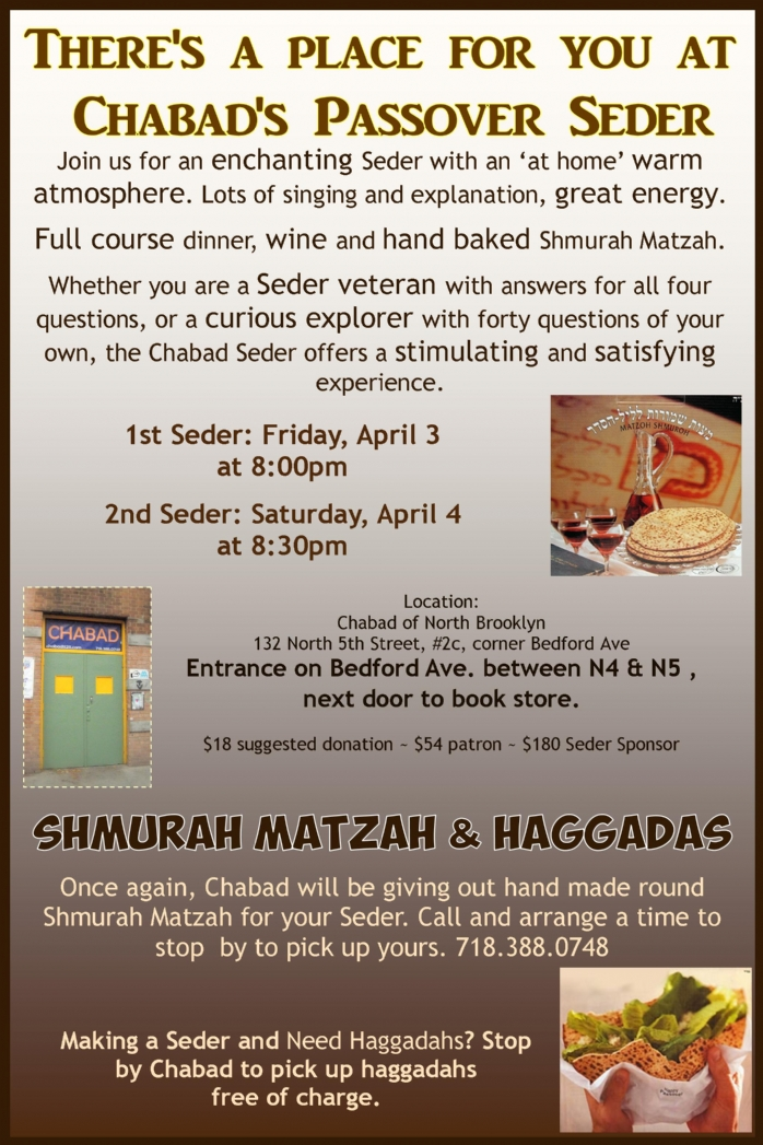 Community Pesach Seder 2015 - Chabad of North Brooklyn