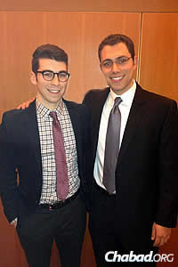 Co-founders of First Dynamic Mike Sheffer, left, and Jared Ringel. Sheffer has attended SXSW and the Shabbat dinner for the past six years.