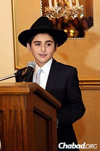 The words of the bar mitzvah boy visibly moved the audience.