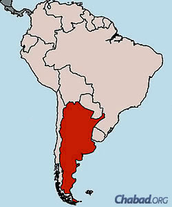 The South American nation of Argentina, highlighted in red.