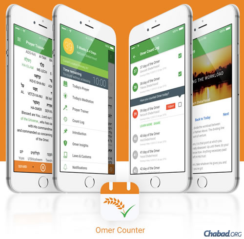 "Chabad.org's free ""Omer Counter"" app makes counting the 49 days between the second night of Passover and Shavuot easier and more meaningful."