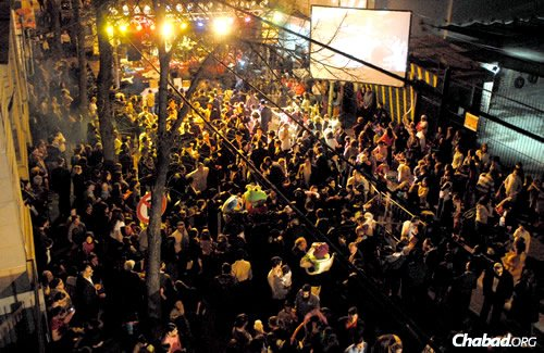 A Chabad holiday celebration in the streets of Buenos Aires.