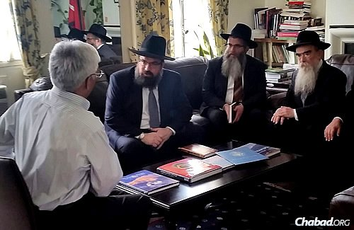 Just before heading to the White House yesterday, a delegation of Chabad-Lubavitch rabbis visited the Embassy of Nepal, which neighbors the Chabad center in Washington, D.C. There, they spoke with Charge d'Affaires Rishi Ram Ghimiri, offering support and assistance in light of the massive earthquake that claimed thousands of lives and devastated the capital of Kathmandu.