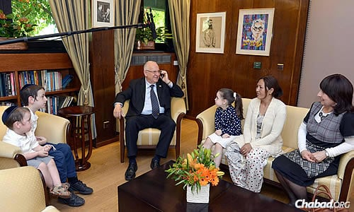 Rivlin called the Lifshitzes, assuring them that their children, who were accompanied by their Nepali nanny, were well and wouldn't miss any school. (Photo: Mark Neiman/GPO)