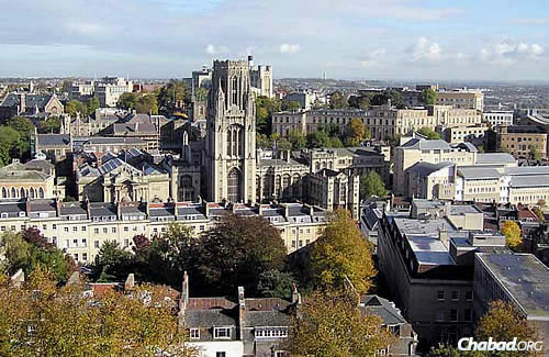 The University of Bristol, about a two-hour drive west of London, enrolls roughly 700 young Jewish men and women out of a total student body of some 20,000. Founded in 1909, the multidisciplinary university has prominent buildings across the city. This view is from the Cabot Tower on Brandon Hill. (Photo: WikiPedia)