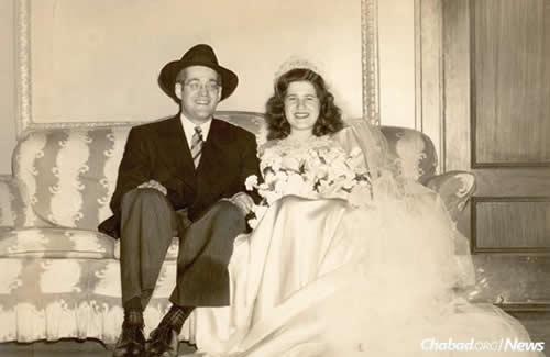 Rabbi Yehuda Leib (Leibel) and Ita Bistritzky at their wedding in June 1948.