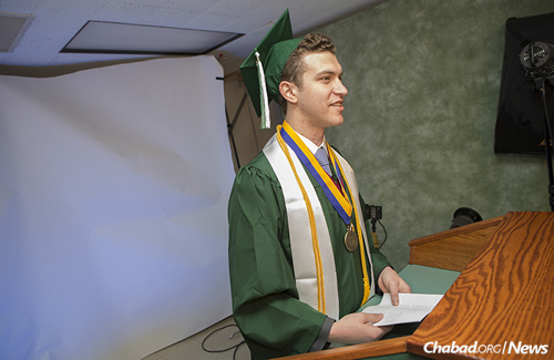 Greenberg's commencement speech was taped on Wednesday at a podium as he stood in full graduation regalia. (Photo: Jonathan Cohen/Binghamton University/RNS)