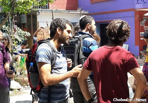 New arrivals at the Chabad House after today's 7.3 magnitude earthquake.