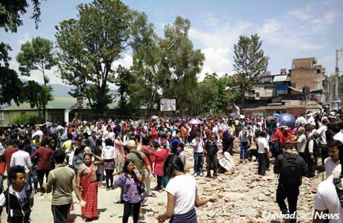 Following another powerful earthquake in Nepal, men, women and children poured into the streets of Kathmandu, with more than 100 people taking refuge in the Chabad House.