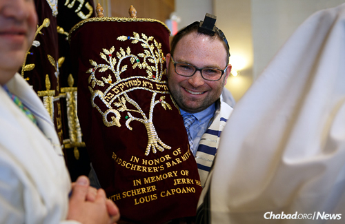 Matthew Jurgens became a bar mitzvah this month surrounded by family and friends, an event that took 29 years in the making. (Photo: Avrohom Perl)