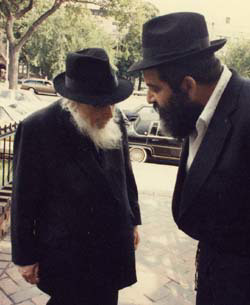 Rabbi Chaim Mordechai Aizik Hodakov, left.