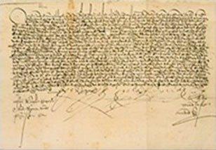 Documento de doação emitido pelo rei Fernando e pela rainha Isabel ofertando propriedade confiscada pela inquisição a um monastério em Córdoba