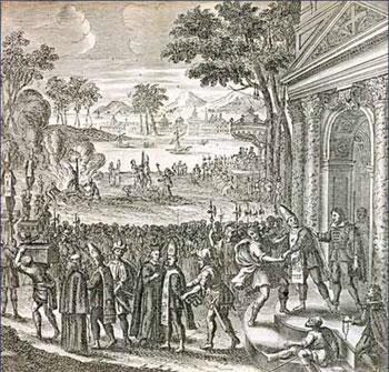 Gravura de auto-de-fé ocorrido em 1688