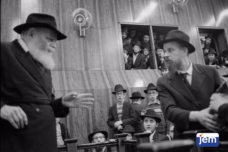 At a Chanukah children's rally with the Rebbe, 28 Kislev, 5743.