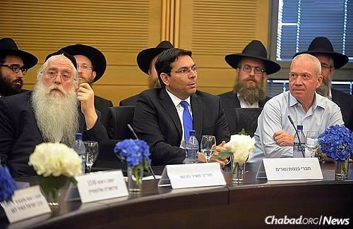 From left: Deputy Minister of Education Meir Porush, Minister of Science and Space Danny Danon and Minister of Construction Yoav Galant (Photo: Meir Alfasi)