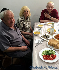 "The lunch spread welcoming the rabbi on his return back. ""It was a very warm reunion; we were all so happy to see each other again,"" says Gopin."