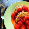 Vegan Spelt Pancakes with Strawberry Compote