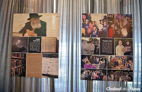 The halls of the Knesset in Jerusalem are currently lined with a gallery of photos and videos of the Lubavitcher Rebbe—Rabbi Menachem M. Schneerson, of righteous memory. The panels also highlight Chabad's activities all over the world. (Photo: Meir Alfasi)