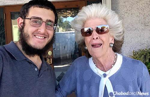 Lew, a native of Brooklyn, N.Y., with Mrs. Wechsler at Purim time. They met in Florida, where he discovered that she grew up in Montreal on the same street as his grandmother.