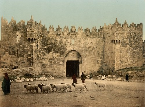 Outside Jerusalem's Shechem Gate circa 1900