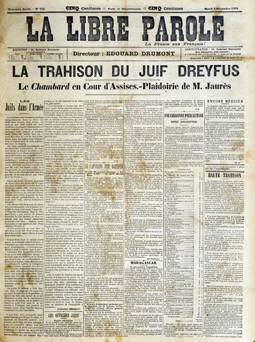 """El titular del periodico antisemita, lee: """"La traición del judío Dreyfus"""""""