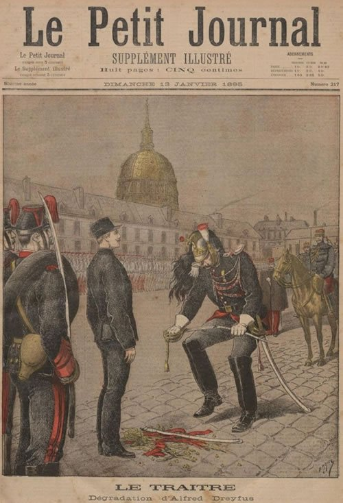 Representation of the cashiering ceremony, where Dreyfus was stripped of his honor
