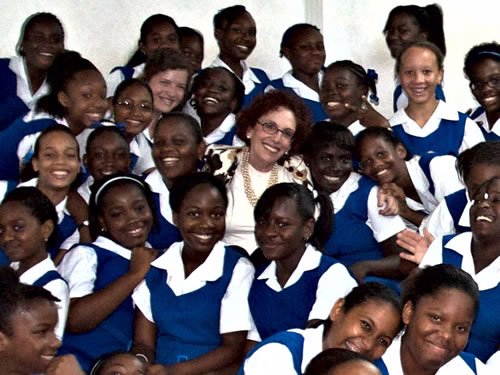 Miriam Grossman with students at St. Lucia, a Carribean Island