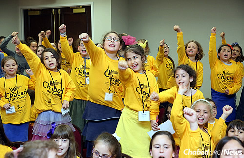 The children of campus couples had a chance to spend time with their peers as part of the MyShliach camp program. Activities for girls included an international-themed carnival, crafts, juggling and a children's rally. (Photo: Bentzi Sasson, Chabad.edu)
