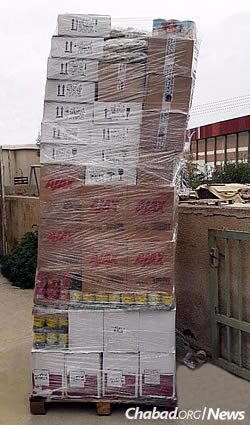 A stack of kosher-for-Passover food items, much of it from Israel, that arrived for the holiday this year.