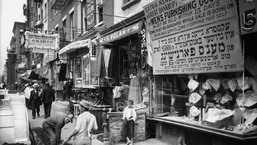 The streets of the Lower East Side of New York were typically bustling with pedestrians, pushcarts and more.