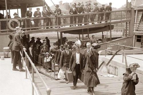 Jewish immigrants arriving in New York City via Ellis Island.