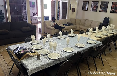 A table set for Shabbat in Albuquerque, N.M., where the two men actually stepped in to run services.