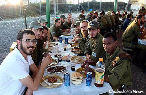 A cookout for some of the many soldiers who come through Hebron for training.