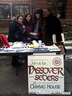 Humphrey with students before Passover, encouraging participation in seders there.